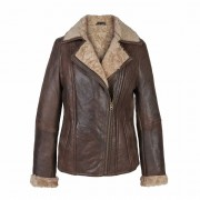 Ladies-Leather-Sheepskin-flying-Jacket-Brown-Ella