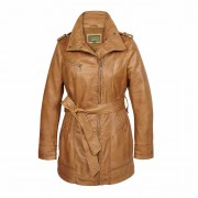 Ladies-Leather-zip-fasten-coat-Tan-Kati