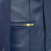 Ladies collarless jacket blue sophie pocket detail