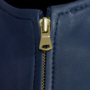 Sophie leather blue jacket zip detail