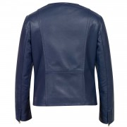 Sophie womens collarless leather jacket blue back image