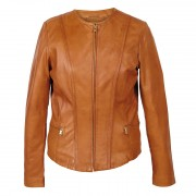 Womens-Collarless-Leather-Jacket-Sophie-Tan