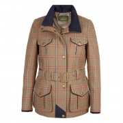 Womens Tweed Jacket in Mid Brown with a Pink Check Welby