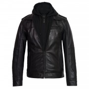 Gents Mason Black leather jacket with hood