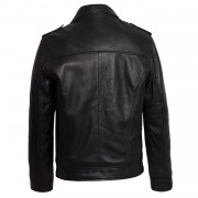 Mens Black leather jacket mason back image