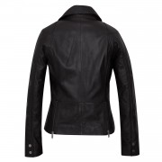 Ladies BLack Leather jacket back Tess