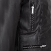 Ladies Leather zip detail black Tess