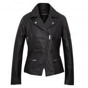 Ladies black leather biker jacket Tess