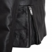 Ladies black leather jacket side zip detail Tess