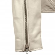 Womens Cream Leather jacket Niki zip cuff detail