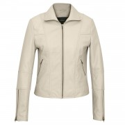 Womens Leather zip fasten jacket Niki Cream