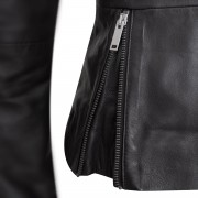 Womens leather jacket side zip detail black Tess