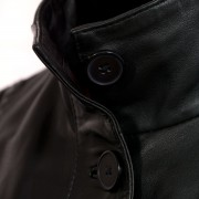 Ladies Black leather coat collar up detail Maggie