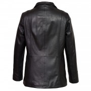 Womens Black Leather coat Maggie Back image
