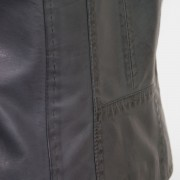 Womens Grey leather jacket May stitch detail