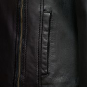 Womens black leather coat pocket and zip detail Cayla
