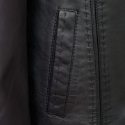 Womens black leather coat pocket detail Maggie