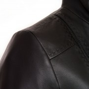 Womens black leather jacket May shoulder stitch detail