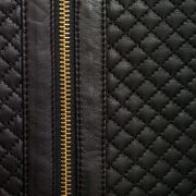 Anna Black leather jacket quilt and zip detail