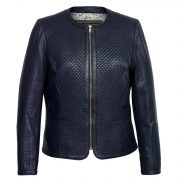 Ladies Navy quilted leather Jacket Anna