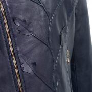 Womens navy leather jacket flower detail