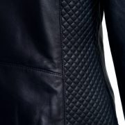 Womens navy leather jacket side panel detail