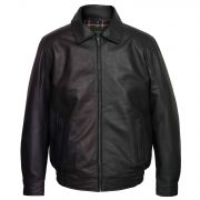 Gents Black Leather Blouson jacket Will