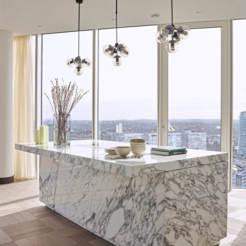 Project Eggersmann Unique kitchen in Arabescato marble