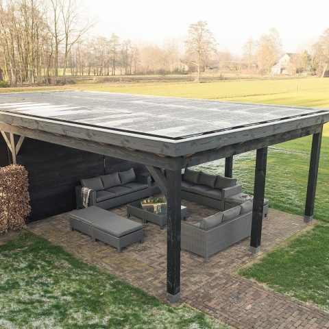 Double carport with solar panels