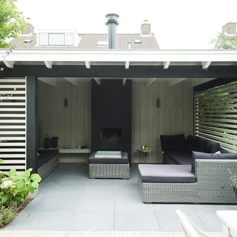 Wooden veranda black and white