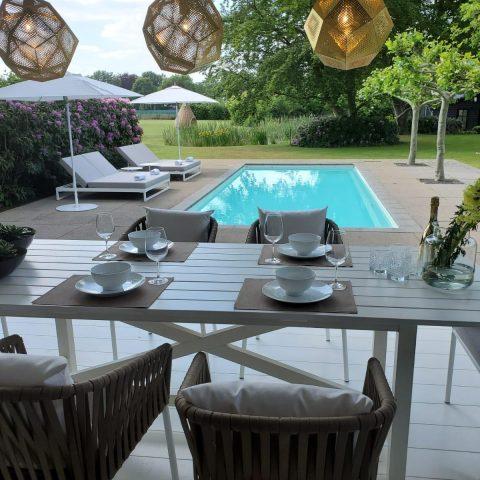 Garden with luxury garden furniture