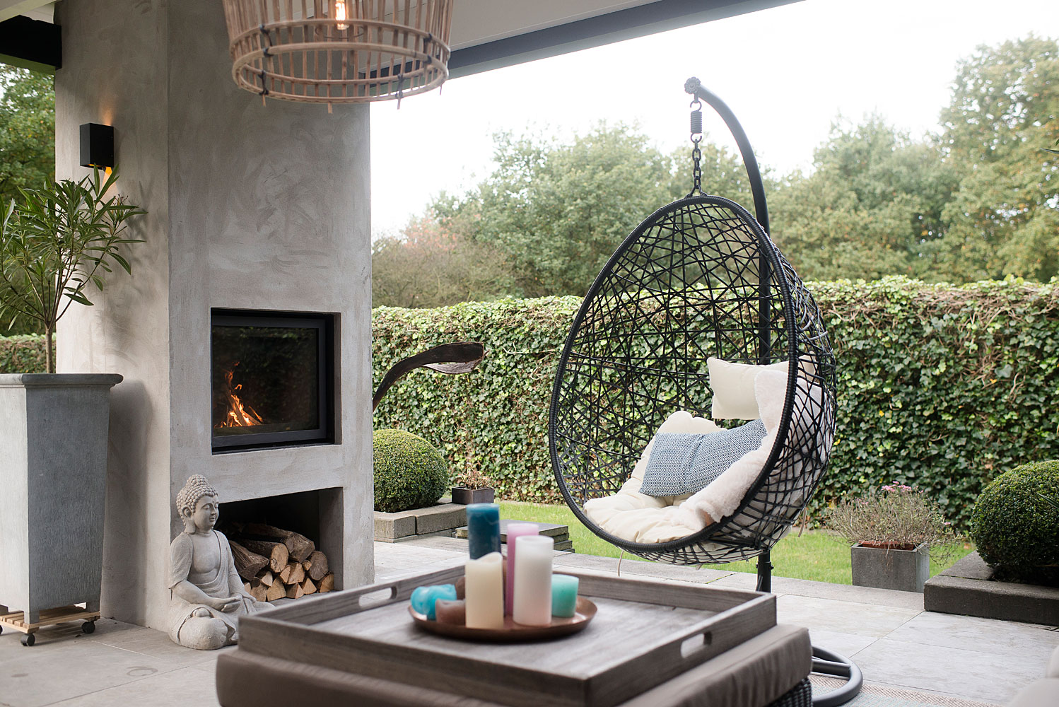 Exclusive Veranda With Plastered Fireplace Hoog Design Exclusive Living Inspiration In The United Kingdom