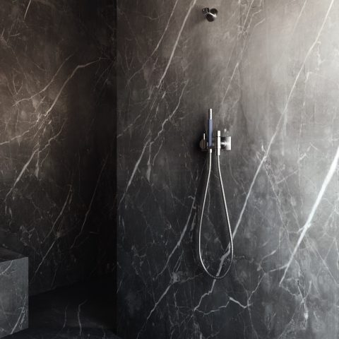 Taps in marble bathroom