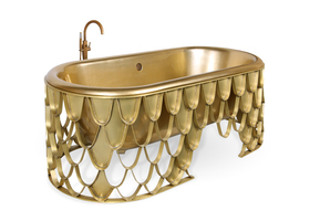 Statement bathtub for a luxury bathroom | Nature inspired KOI Bathtub with gold details