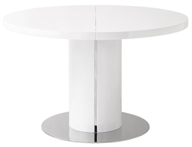 Press Loft Image Of Curva Round White Gloss Extending Dining Table For Press Pr
