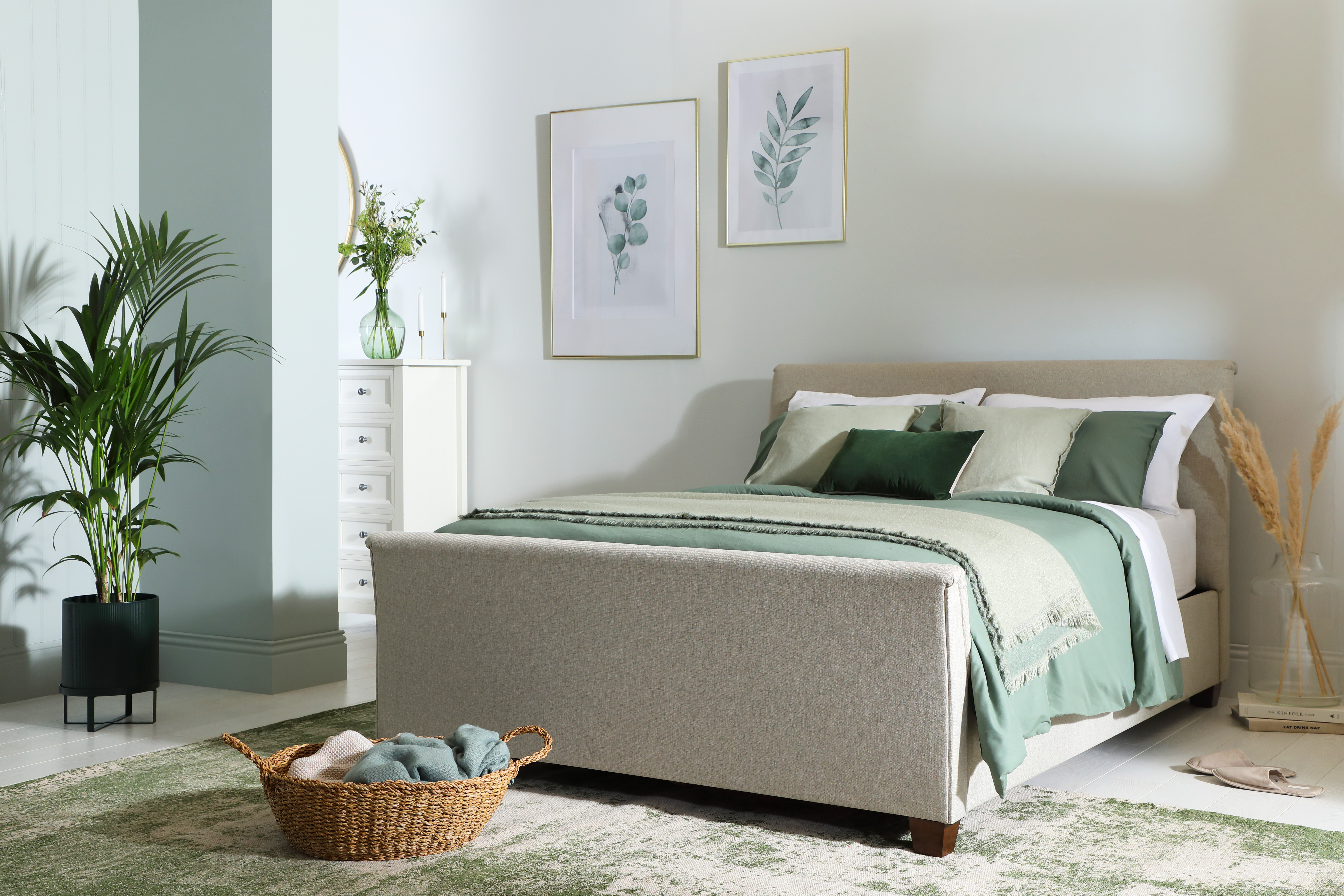 Fairmont Oatmeal Fabric Double Bed
