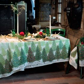 """Tessitura Toscana Telerie, """"Fairy Trees"""", Pure linen printed tablecloth."""