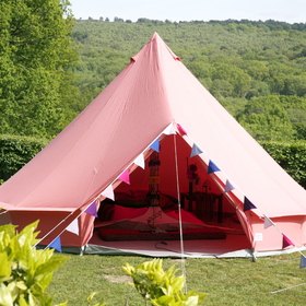 Press Loft | Image of Coral Red Bell Tent for Press & PR