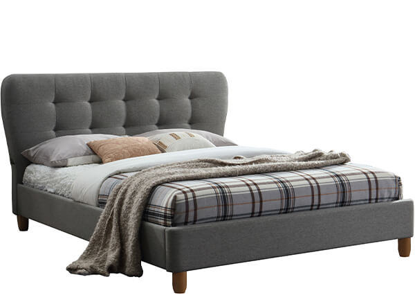 Birlea Stockholm Grey Upholstered Bed - Double (4'6