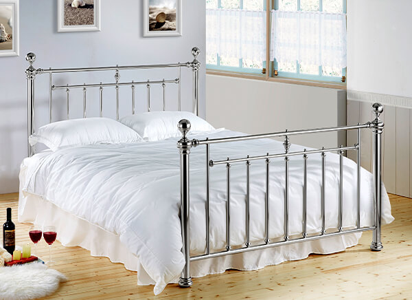 Time Living Chrome Alexander Bed Frame - King Size (5' x 6'6