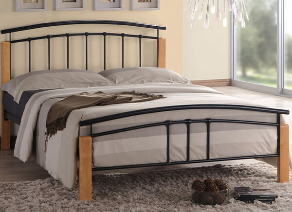 Time Living Black and Beech Tetras Bed Frame - Single (3' x 6'3