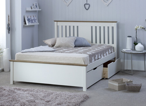 Bedmaster White Chester Bed - Double (4'6