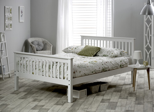 Bedmaster White Grace High Foot End Bed Frame - Single (3' x 6'3