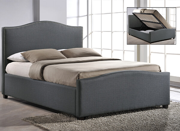 Time Living Grey Brunswick Ottoman Bed Frame - Double (4'6