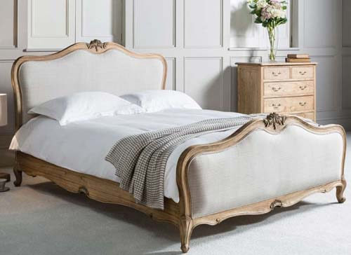 Frank Hudson Living Chic Weathered with Fabric Detailing Bed Frame - King Size (5' x 6'6