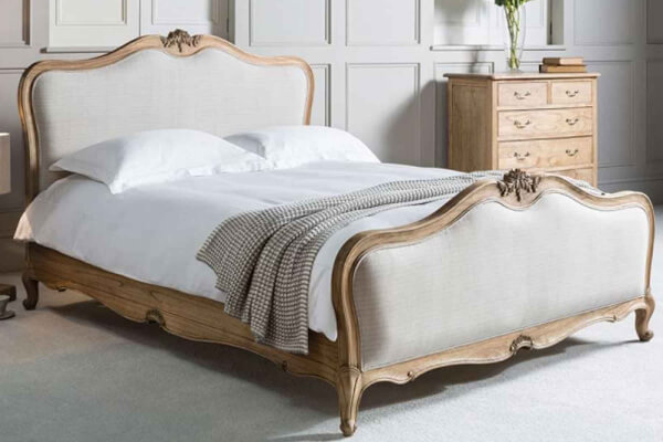 Frank Hudson Living Chic Weathered with Fabric Detailing Bed Frame