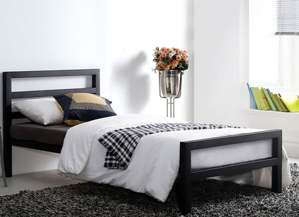 Time Living City Block Black Bed Frame - Single (3' x 6'3