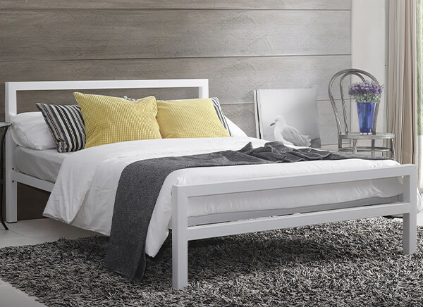 Time Living City Block White Bed Frame - Single (3' x 6'3