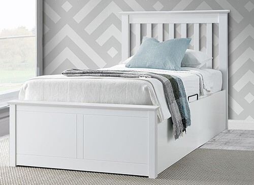 Bedmaster Francis White Ottoman Bed - Single (3' x 6'3