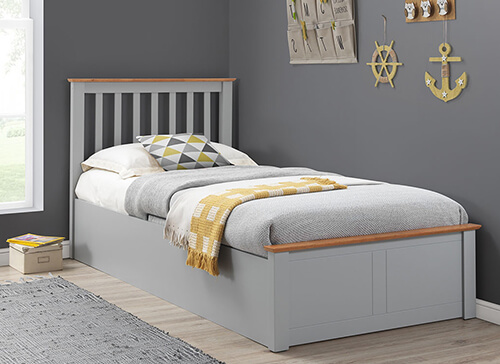 Bedmaster Francis Grey Ottoman Bed - Single (3' x 6'3
